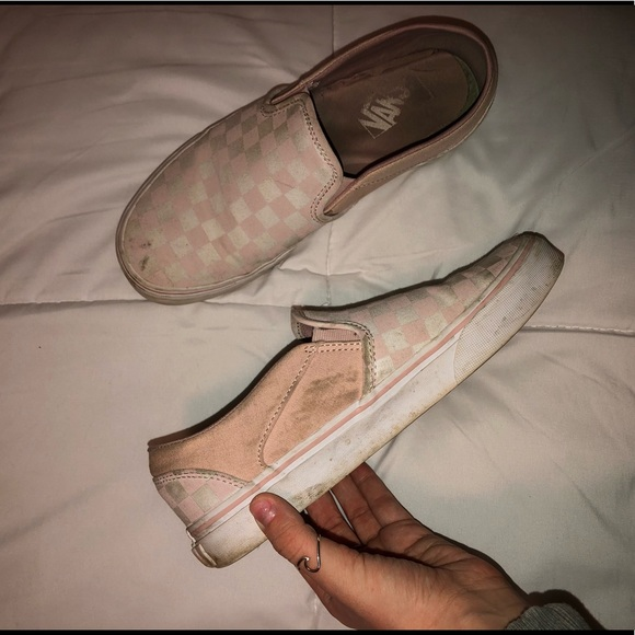 light pink and white checkered vans